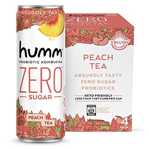 Humm Probiotic Kombucha Zero Sugar Peach Tea - No Refrigeration Needed, Keto-Friendly, Organic, Vegan, Gluten-Free - 11oz Cans (4 Pack)