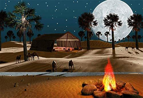 EdCott 5x3ft Sahara Arabian Desert Kulissen für Fotografie Schöne Vollmond Nachtansicht Erg Fire Camp Palm Tree Kamele Shanty Zelt Foto Hintergrund Photo Booth Requisiten
