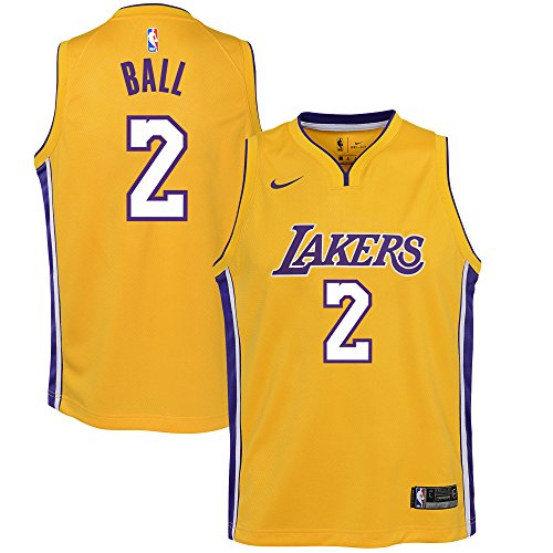 Nike Youth XL (18-20) Lonzo Ball Los Angeles Lakers Swingman Jersey - Gold