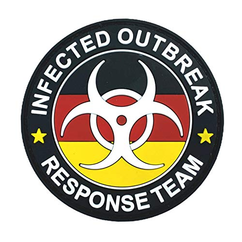 Deutsches Deutschland Flagge Infected Outbreak Response Team Im Dunkeln Leuchten PVC Airsoft Paintball Klettverschluss-Flecken Cosplay Fan Patch