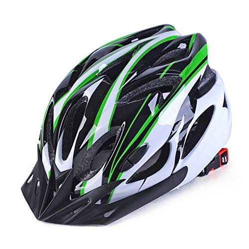 GCDN - Casco de bicicleta con visera, ajustable, ligero, para bicicleta de montaña, de carretera para adultos, jóvenes y niños, Unisex adulto, color Verde y negro., tamaño Tamaño libre