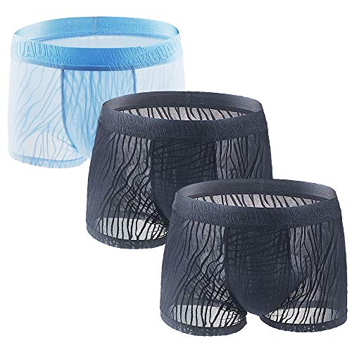Litthing Herren EIS-Seide Lace Mesh Boxershorts U konvex Dreidimensionales Design Atmungsaktive Unterhose 2 Schwarz + 1 Himmelblau (L)