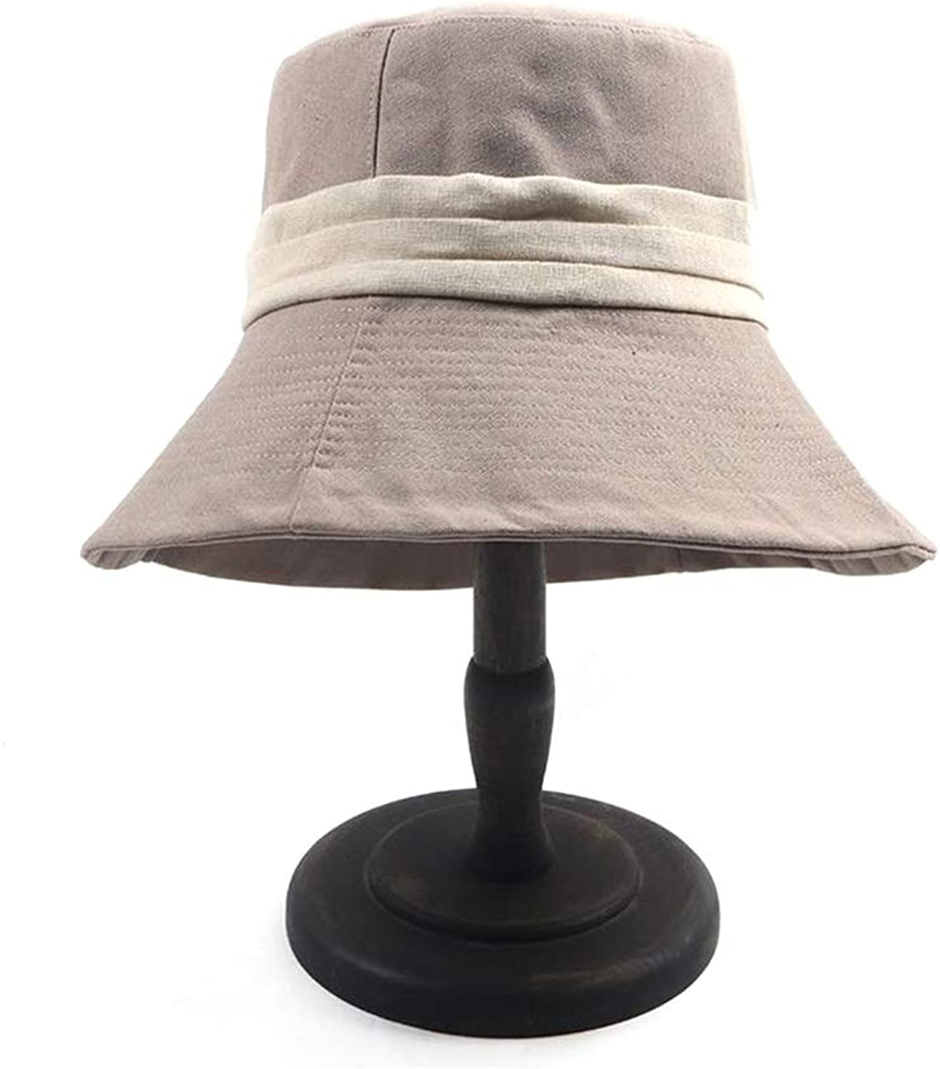 Teng Peng Sun hatins2019 New Listing Fisherman hat Foldable Ladies Outdoor Beach Sunscreen Summer hat Wide Side Breathable hat Beach Sun hat Lady Outdoor Sun hat (color   Khaki)
