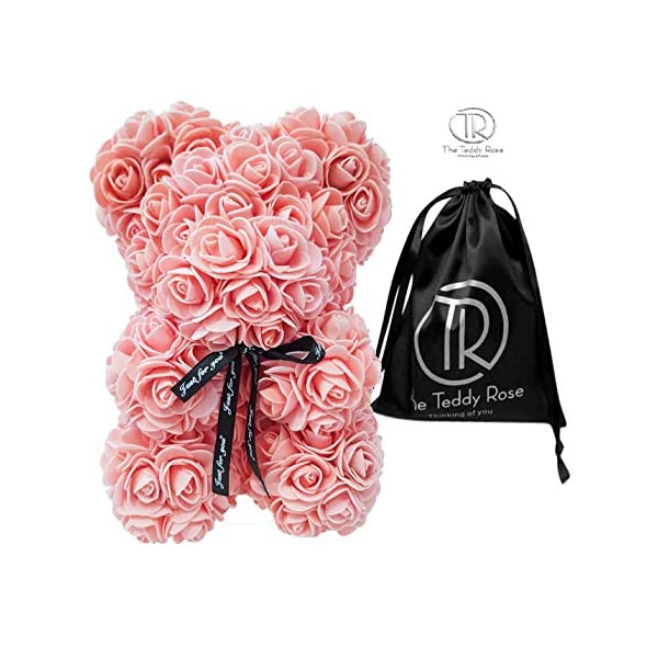 The Teddy Rose Peach Rose Bear – Cute 10-Inch Teddybear Handmade with Styrofoam Flower Petals – Artificial Roses Decor for Valentine's, Graduation, Mother's Day, Christmas, Anniversary…
