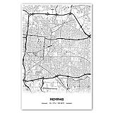 Zulumaps Poster 80x120cm Stadtplan Memphis - Hochwertiger
