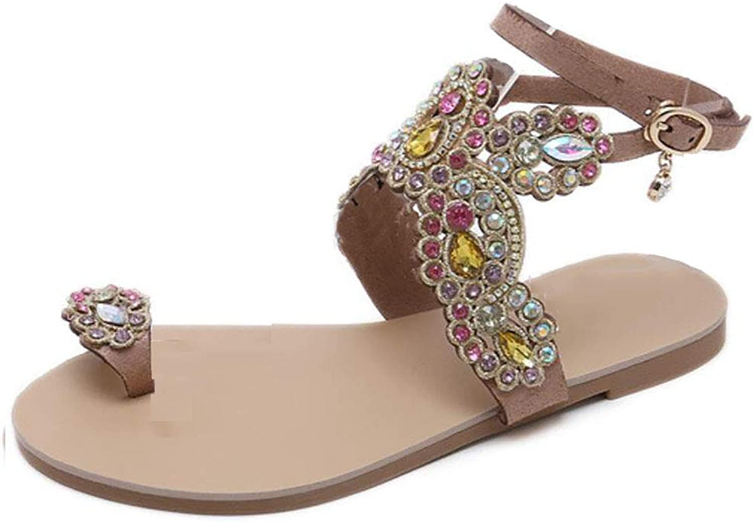 Women Flip Flops Ethnic Bohemian Seaside Rhinestones Beach Slipper