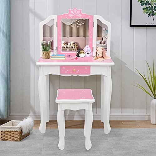 VALUE BOX Kids Princess Vanity, Girl Wooden Vanity Set w/Stool & Tri-Folding Mirror, Makeup Dressing Table with Drawer (Pink)