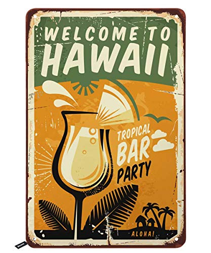 Swono Welcome to Hawaii Tin Signs,Aloha Tropical Bar Party Poster on Yellow Background Vintage Metal Tin Sign for Men Women,Wall Decor for Bars,Restaurants,Cafes Pubs,12x8 Inch