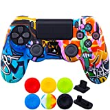 9CDeer 1 Piece of SiliconeTransfer Print Protective Cover Skin + 6 Thumb Grips & Dust Proof Plugs for PS4/Slim/Pro Controller Cartoon Paints