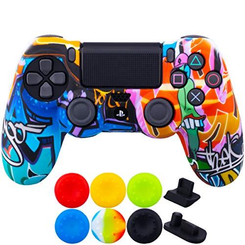 9CDeer 1 x Stück Schutzfolie Transferdruck Silikon Hülle + 6 Thumb Grips & Staubdichte Stecker für PS4/Slim/Pro-Controller Comic-Farben