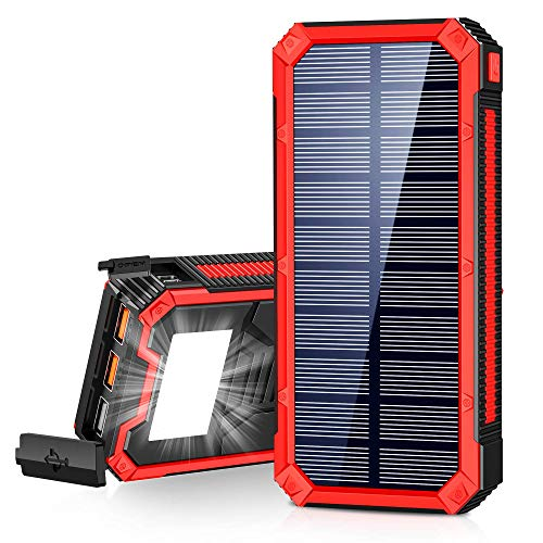 Solar Charger 30000mAh, Emergency Battery Solar Power Bank PD18W & QC3.0 Fast Charge with 4 Outputs & 2 Inputs (USB/Type-C) Solar Battery Bank Phone Charger LED Light for Camping Outdoor