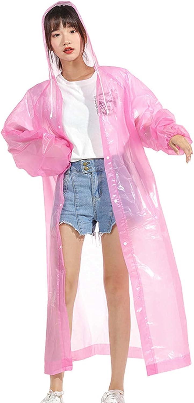 FHGH Portable EVA Long Raincoats, Reusable Unisex Rain Poncho,with Adjustable Hood, Foldable Hooded Rain Jacket,F,Medium