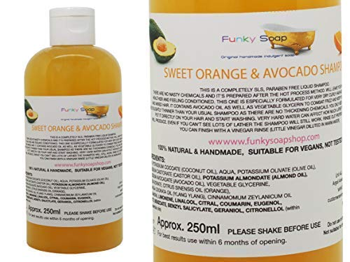 Funky Soap 1 Botella Naranja Dulce & Aguacate Aceite Champú Para Afro, Mezclado Raza & Cabello Rizado 250ml 100% Natural Artesanal Sin SLS