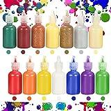 Ucradle Pintura para tela, 14 botellas de pinturas 3D para tela, 2 tipos diferentes de pinturas permanentes, pinturas esponjosas ideales para tela de tela, camiseta, lona, madera, niños y adultos