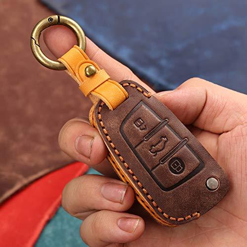 Funda protectora para mando a distancia para Audi A1 A3 A4 A4L B5 B6 B7 B8 B9 A5 A6L C5 C6 Q3 Q5 Q7 S5 S7 RS3 TT 3 botones de cuero inteligente llave sin llave (marrón)