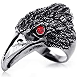 OIDEA Edelstahl Falke Adler Ring für Männer, Herren Biker Engagement Ehering Schwarz Silber Ringgrößen 71 (22.6) (62 (19.7))