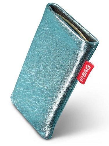 fitBAG Groove Türkis Handytasche Tasche aus feinem Folienleder Echtleder mit Microfaserinnenfutter für ASUS M930