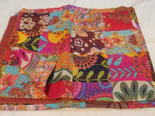 Tribal Asian Textiles Couvre-lit matelassé Kantha à motif floral, ralli, gudari, fait à la main, parure de lit réversible