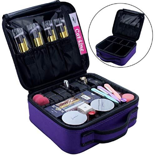 MXH Petit Double-Couche de Voyage de Maquillage Portable Dames Sac à Main de Grande capacité cosmétique,Rose