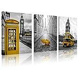 FUNHUA Gelbe Telefonzelle und Bus von London Wandkunst mit