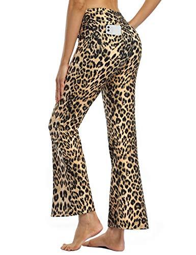 MOVE BEYOND Butterweiche Damen Bootcut Yogahose mit 4 Taschen Bauchkontrolle Workout Bootleg Arbeitshose, Leopard, L