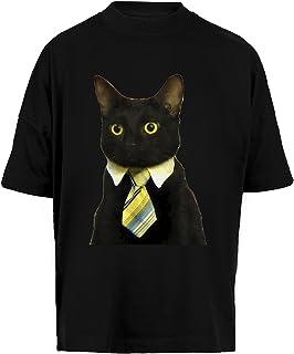Negocio Gato Unisex Camiseta Holgada Hombre Mujer Mangas Kortas - Unisex Baggy T-Shirt Black
