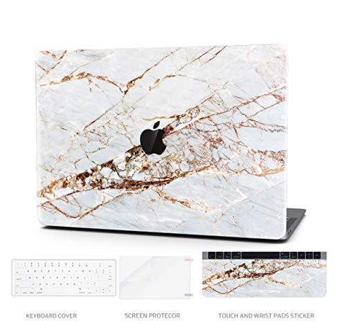 Laptop Case MacBook Pro 13' Keyboard Cover Plastic Hard Shell Touch Bar 4 in 1 Bundle with Screen Protector for MacBook Pro 13 '' (A1706/A1708/A1989), Gold Slash Marble