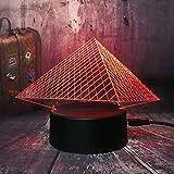 Lámpara De Ilusión 3D Luz De Noche Led Museo Del Louvre Pirámide De Lujo Usb 7 Colores Cambiar Navidad Toque Lámpara De Mesa Para Habitación Infantil Luz De Regalo