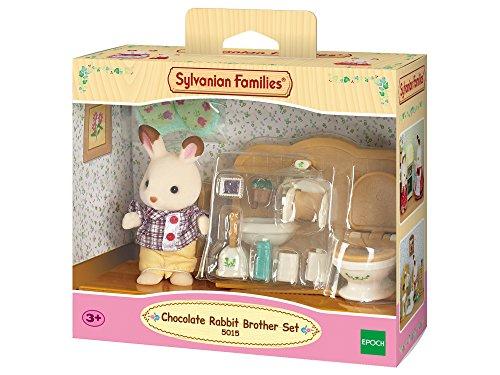 Sylvanian Families 5853379 5015-Schokoladenbruder mit Waschraum, Figur mit Zubehör, mehrfarben