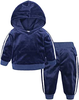 ITFABS Toddler Baby Boy Girl Flannel Sweatsuit Cute Hooded Sweatshirt Jacket Coat+Pants Outfits Fall Winter Warm Clothes