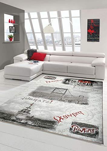 Designer Teppich Moderner Teppich Wohnzimmer Teppich Istanbul Motiv Grau Creme Rot Schwarz Größe 80x150 cm