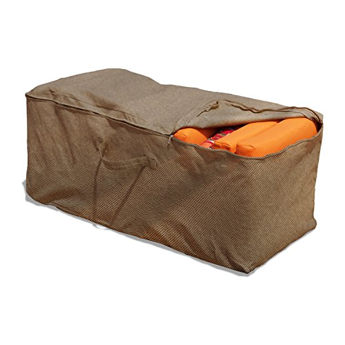 Budge P9A10PM1 English Garden Cushion Storage Bag Heavy Duty and Waterproof, 19.5' High x 47.5' Wide x 18' Deep, Tan Tweed