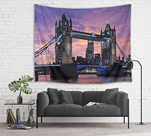 London Tower Bridge Tapestry River Thames Wall Hanging Art City Night Sky Tapestries London Night Scenery para Dormitorio Sala de Estar Dormitorio Decoración