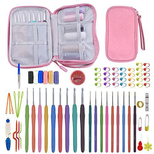 Full Size Ergonomic Crochet Hook Set with Case,101 PCS Crochet Kit Size 0.6mm-6mm Knitting Needles with Accessories for Arthritic Hands,Beginners and Experienced Crochet