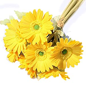 Alwayshare Artificial Flowers, 7pcs Daisy Bouquet Real Touch PU Chrysanthemum Sunflower Best Decor for Office Home Wedding Birthday Holiday Party Archway Decoration (Yellow)