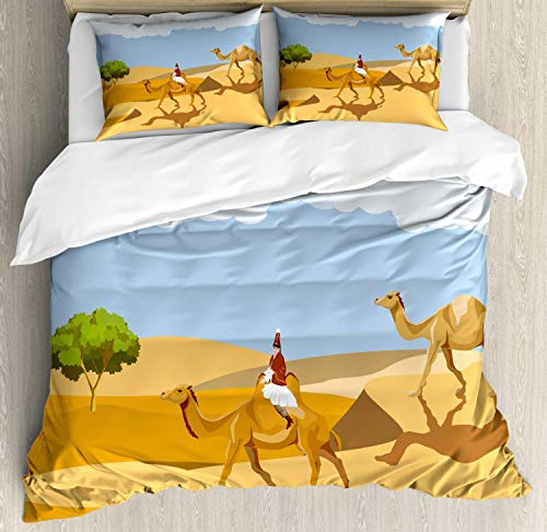 LREFON Lightweight Breathable Warm 3-Piece Bedding Set 86'X70' Oasis Woman in Clothes Riding a Camel in The Desert Traits Activities Twin Size Comforter