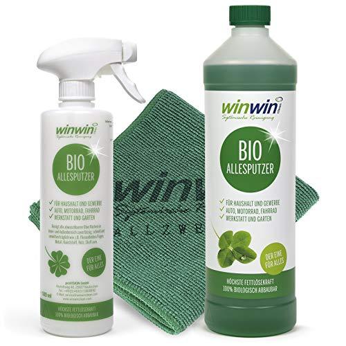 winwin clean Systemische Reinigung - ALLESPUTZER 1000ml INKL. Dosierflasche + UNIVERSALTUCH 32cm x 32 cm - Sie Werden begeistert Sein -