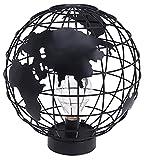 Lámpara de escritorio, lámpara de mesa de metal, globo del mundo, 9 ledes, funciona con pilas, aprox. 27 cm, color negro
