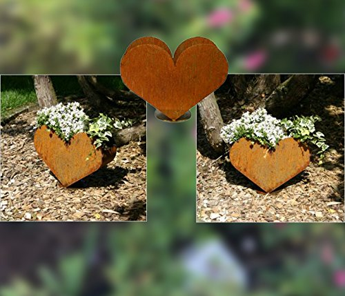 RDI Pflanzschale Herz Edelrost, Rostiges Metall, Blumentopf, Gartendeko, Pflanzgefäß