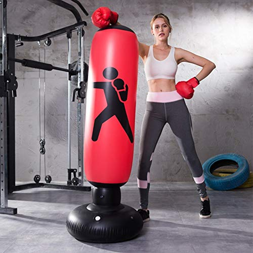 SCF Standboxsack Boxsack Stehend Aufblasbare Boxsäule Freistehender Trainer Punching Ball Sandsack Tumbler Kinder Erwachsene Fitness Dekompression Sandsäcke Kick Kampftraining