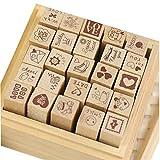 Yansanido 25pcs Mini Cute DIY Diary Wooden Rubber Stamp Set with Wooden Box (25pcs LOVE st...