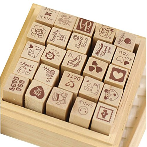Yansanido 25pcs Mini Cute DIY Diary Wooden Rubber Stamp Set with Wooden Box (Red)