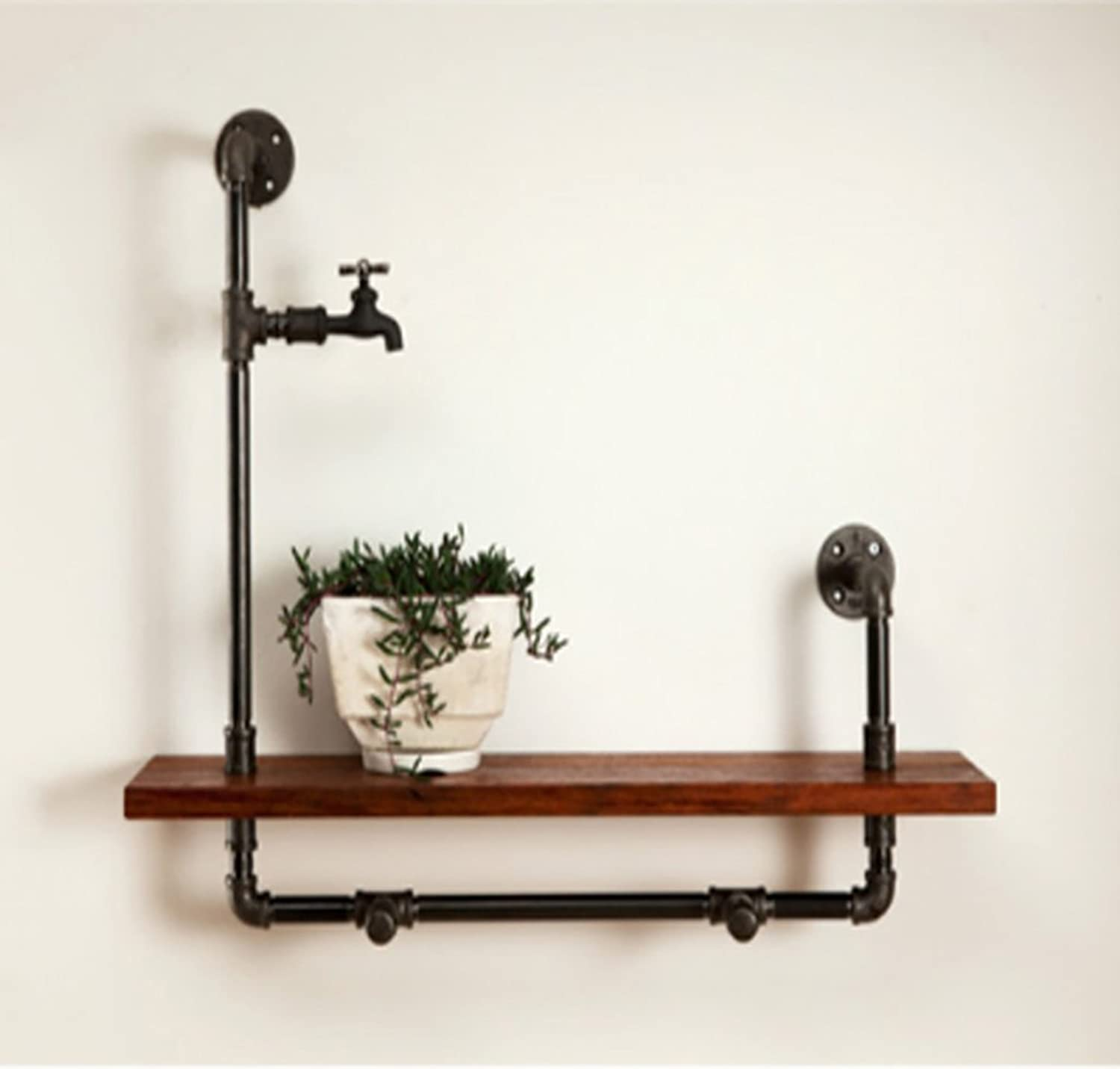 Decorative Accessories Wall Mounted Shelves LOFT Retro Iron Water Pipe Bookshelves Potted Display Stand Living Room Background Wall Decoration Solid Wood Shelves Floating Shelves (Size   402060cm)