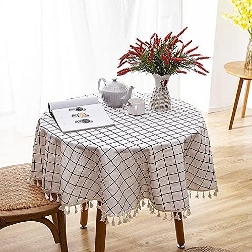 CYYyang Borla del Paño de Tabla del Lino del Algodón para la Cubierta de Tabla de Cena del Banquete Borla de impresión de Lino de imitación de poliéster-algodón