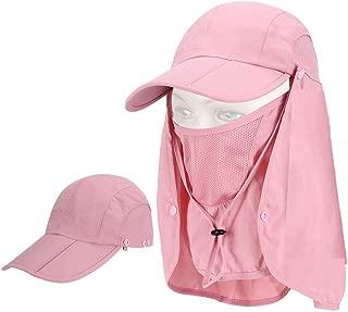 XSRTT Gorra Hombre Gorras Mujer Sombrero Verano Viseras Gorra de Protección Solar Anti-UV con Máscara Extraíble Sombrero Tapa de Cuello y Face Flap para Ciclismo Senderismo Pesca