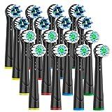 Repuesto Cabezales Cepillo para Braun Oral B – Recambio Cepillos de Dientes Compatibles con Cepillo de Dientes Eléctrico Oral-b, Incluye 8 Cross, 8 GumCare 16 unidades,Negro