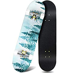 【Durable Deck】 ANDRIMAX Complete Skateboards use 7 Lays 31'L x 8'W x 4'H Canadian Maple Provide More Stability and Safety for Users also Hold both Foot on it , Skateboards Max Load 220lbs Fit for Adults and Kids Beginners and Professional Skaters . S...
