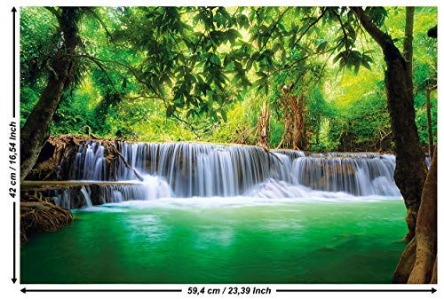 Great Art Waterval Feng Shui – muurschildering decoratie natuur jungle landschap paradijs vakantie Thailand Azië wellness spa relax fotobehang wandbehang fotoposter wanddecoratie 59,4 x 42 cm - 1 Teil