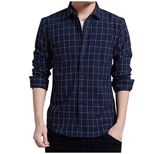 Aoogo Die beiläufige Art und Weise der Männer Gitter lose Revers-langes Hülsen-Hemd übersteigt Bluse Tops Lässige