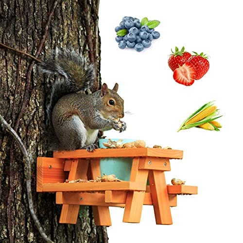 Enclave Woods Large Squirrel Feeder - Spacious Removable Cup - Safe for Squirrels - Customizable Food Options - Nuts, Berries, Fruits - Funny Gift